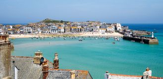 St Ives English Seaside Harbour View immagine stock