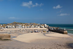 St Ives harbor at low tide Stock Photos