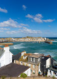 St Ives harbour Cornwall England with boats blue sky Stock Photography