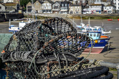 St Ives Harbour Fishing Cage Stock Photos