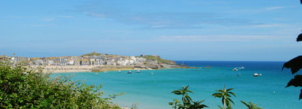 St Ives harbour and headland from clifftop Stock Photo