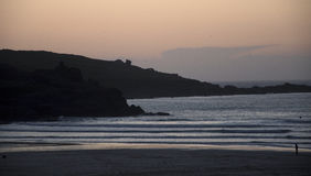 St Ives porthmeor beach at sunset Royalty Free Stock Image
