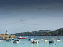St Ives Smeatons Pier and boat Royalty Free Stock Photos