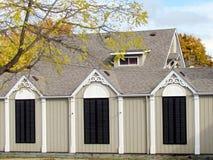 St Jacobs村庄木房子2013年 库存照片