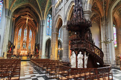 St. Paul's Liege. Beautiful view of the interior of the St. Paul's cathedral (Liege cathedral) in Liege, Belgium Royalty Free Stock Image