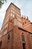 St. Jacobs Church in Olsztyn (Poland). St. Jacobs Church was built in the 2nd half of the 14th century in the Gothic style. Church tower is 63 metres Stock Photography