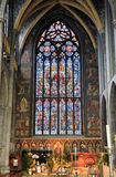 St. Paul's window. Beautiful view of a stained glass window of the St. Paul's Cathedral (Liege Cathedral) in Liege, Belgium stock photos