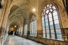 St. Paul's windows. Beautiful view of the interior of the St. Paul's cathedral cloister in Liege, Belgium Royalty Free Stock Images