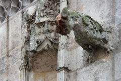 St Jacques chapel - Vendôme - France. A gargoyle decorates the facade of the St Jacques chapel in Vendôme (France). Une gargouille décore la façade stock photo