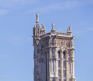 St-Jacques Tower (Tour St-Jacques) against a blue sky, Paris, France Stock Photography