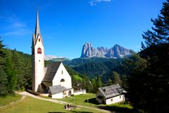 St Jakob church in the Dolomites, Italy Stock Photography