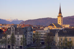St. Jakob Church in Villach. Seen at sunset. Villach, Carinthia, Austria Stock Photography