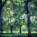 St James' in August. Summer shot of the deck chairs in St James' Park London Stock Photo