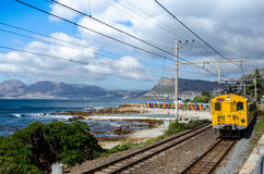 St. James Beach, Kalk Bay, Cape Town, South Africa. Landscape of St. James beach near Kalk Bay, Cape Town South Africa. With a moving train Royalty Free Stock Photo