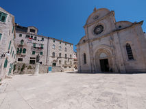 St.James cathedral in Sibenik. Square in front of the St.James cathedral in Sibenik, listed in the UNESCO world heritage, built in medival entirely of stone and Royalty Free Stock Photos