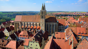 St. James church in Rothenburg ob der Tauber in Bavaria, Germany. It serves as a church on the pilgrimage route to St. James Church in Santiago de Compostela Stock Images