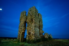 St James church ruins. St James church ruins near Bawsey, Kings Lynn, Norfolk, Uk taken before dawn stock image