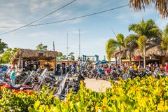 St James City, Pine Island, Florida, United States of America, , open air music and biker event at Ragged Ass Saloon. St James City, Pine Island, Florida, United stock photo