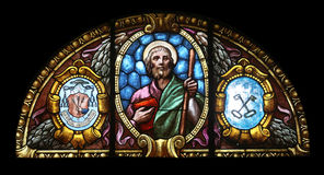 St. James the Greater. Stained glass window in the church of St. James the Greater in Porto Azzurro, Elba, Italy stock photography