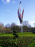 St. James Park. British Flags in St. James Park in London Royalty Free Stock Photography