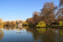 St James Park. St. James Park with London Eye and Horse Guards Buildings, London, UK stock photography