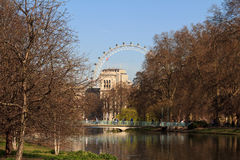 St. James Park. With London Eye and Horse Guards Buildings, London, UK royalty free stock photos