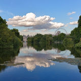 St. James Park, London, UK. St. James Park with London Eye and Horse Guards Buildings, London, UK Stock Images