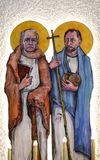 St. James and St. Philip. Altar of the church of Saint Blaise in Zagreb, Croatia vector illustration