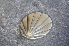 St James Way Shell Symbol, Santiago de Compostela, Galicia Fotos de archivo libres de regalías