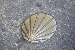 St James Way Shell Symbol, Santiago de Compostela, Galicia Imagen de archivo