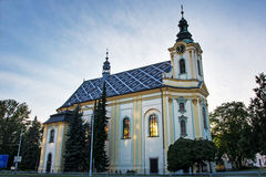 St. Jan and Pavel church in Frýdek-Místek. Catholic church built in late baroque style between years 1763 and 1784. Picture taken late evening when the sun Royalty Free Stock Photos