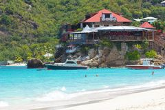 St Jean beach, St Barths, Caribbean. Restaurant and a view of St Jean's Beach in ST Barths, Caribbean Stock Photo