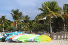 St. Jean Beach at St Barts. ST BARTS, FRENCH WEST INDIES - JUNE 10, 2015: St. Jean Beach at St Barts. The island is popular tourist destination during the winter royalty free stock images