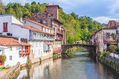 St Jean Pied de Port, Frankrike Arkivbild