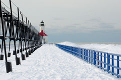 St Joe cold winter light house Royalty Free Stock Images