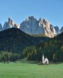 St Johann Church, Santa Maddalena, Funes, dolomia, Italia Fotografia Stock Libera da Diritti
