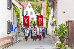 St. Johannes procession in Oberrrotweil, Germany Stock Photos