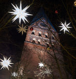 The St. Johannis Church in Lueneburg features a popular Christm Stock Photo