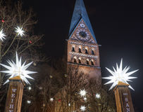 The St. Johannis Church in Lueneburg features a popular Christm Stock Image