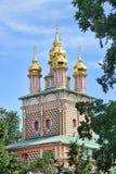 ST John η βαπτιστική εκκλησία που πλαισιώνεται από τα δέντρα το καλοκαίρι - Sergiyev Στοκ Εικόνες