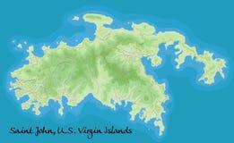 St. John Виргинские острова Карта вектора Географическая карта детализированная с Бесплатная Иллюстрация