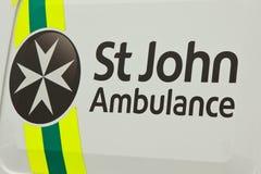 St John Ambulance. A St John Ambulance sign written on the side of a vehicle Stock Image