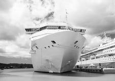 Beautiful large luxury cruise ship at moorage St. John, Antigua. St. John, Antigua - March 05, 2016: beautiful large cruise ship, big white passenger boat Stock Photography
