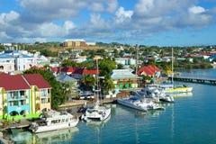 St John Antigua som är karibisk Royaltyfri Fotografi