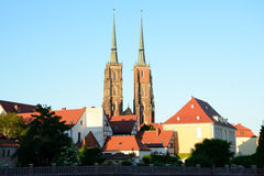 St John the Baptist Cathedral towers in Wroclaw, Poland Royalty Free Stock Photo