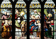 St. John the Baptist introduced by his mother, St. Elizabeth, the Infant Jesus and the Holy Kinship Royalty Free Stock Photo