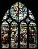 St. John the Baptist introduced by his mother, St. Elizabeth, the Infant Jesus and the Holy Kinship The Virgin, St. Joseph and St Stock Image