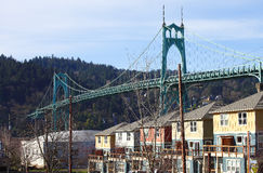The St. John bridge & row of new houses. Stock Photography