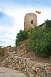 St. John Castle Tower with catalonian flag at the top Stock Photography