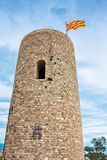 St. John Castle Tower with the catalonian flag at the top Stock Images